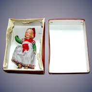 Antique Doll all Bisque Miniature Dollhouse Jointed Dutch Girl with Original Box