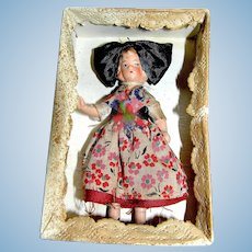 Antique Miniature Jointed Alsatian Doll in the original box