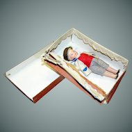 Antique DOLL on Norweigan boy, bisque, minature, jointed, in the original box!