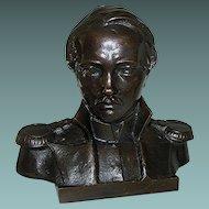 Vintage Bronze Bust Statue Uniformed Military Soldier Officer