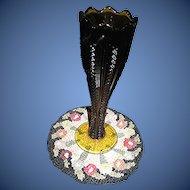 Vintage Amber colored, carnival glass-like pattern glass bud vase