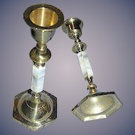 Pair of Brass Mother of Pearl candle sticks