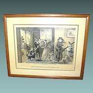 """Antique print, Currier & Ives, """"The Four Seasons of Life: Middle Age"""""""