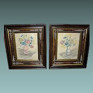 Vintage Folk Art Watercolors In Matching Primitive Frames of the late 19th century