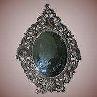 Antique Spelter Slanting Tabletop Mirror