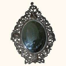 Antique Spelter Slanting Tabletop Mirror
