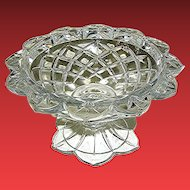 Vintage Lead crystal candy dish compote with petal border and cross-hatching