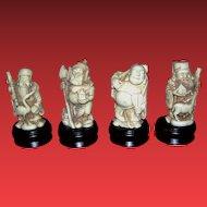 Vintage Oriental figurines, Buddhist or Shinto, miniature statues. mid century