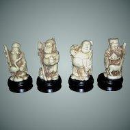 Vintage Oriental figurines, Buddhist or Shinto, miniature statues