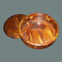Vintage wood treen pedestal Bowl in marquetry