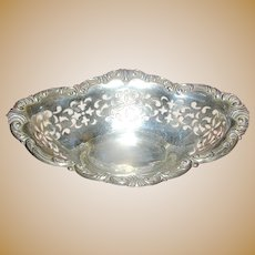 Sterling Silver Bonbon small dish with pierced design on fluted feet, marked