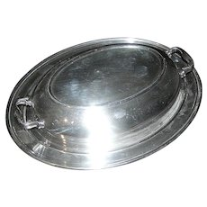 Silver plate Serving Dish covered with  handles  LS Co.