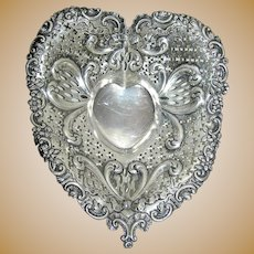 Sterling silver heart shaped dish by Gorham