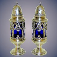 Salt and Pepper Shakers, plated, cobalt Liners, early 20th c.