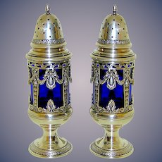 Silver Plate Salt and Pepper Shakers with Colbalt Blue Glass Liners