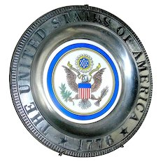 Pewter Wall Plate Presidential Seal with eagle and 1776 on the front
