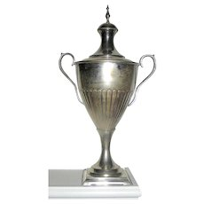 Silver Plate Tall Covered Trophy or Urn in a George 111 manner