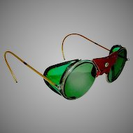 Vintage Motorcycle Goggles with Green Tint