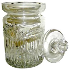 Vintage Waterford cut crystal glass biscuit or candy jar, signed