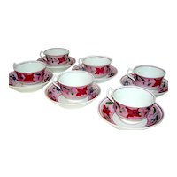 Set of Six , Antique Pink Lustre Cups and Saucers, 1830