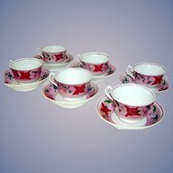 Set of Six , handpainted, Pink Lustre Cups and Saucers, 1830