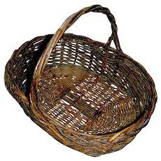 Primitive Market Wicker Basket, circa 1900, Lancaster Valley PA