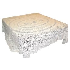 Vintage Quaker Lace Off-White or Ecru Tablecloth