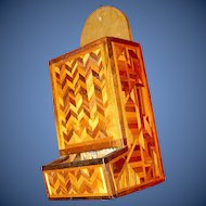 Vintage Handing Wall Match box safe marquetry
