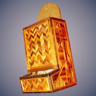 Wooden Treen Match box safe in marquetry