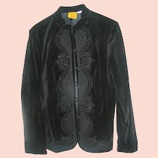 Vintage Woman's Black Blouse Jacket in cotton with sequins