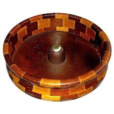 Vintage Treen Nut Bowl With original label Redwood