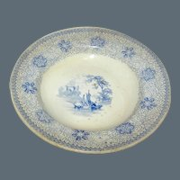 Antique Blue and White Transferware Cup Plate