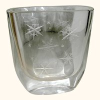 Etched Crystal Vase decorated with Snowflakes