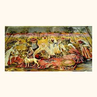 Large Vintage Tapestry Arabian Motif early 20th c.