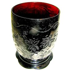 Vintage Ruby Glass Vase with motif a of Christmas Poinsettias