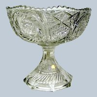 Pressed Clear Glass Compote, Large