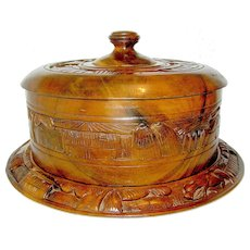 Treen Wood Covered Plate