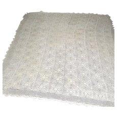Vintage Crochet Ecru large Tablecloth