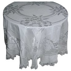 Vintage Round Off-white Tablecloth with lacy border and floral motif