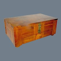 Vintage Marquetry Cedar Chest Box tabletop