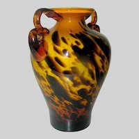 Art Glass vase chocolate swirl on butterscotch