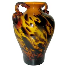 Vintage Art Glass vase with handles in a chocolate swirl on butterscotch