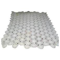 Vintage crochet ecru colored tablecloth