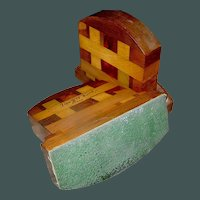 Vintage set of inlay treenware bookends Parquetry