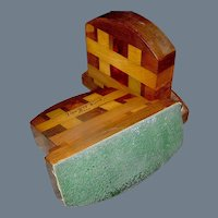 Vintage set of marquetry treenware bookends