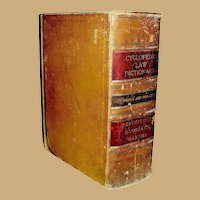 Antique Book, Cyclopedic Law Dictionary, Shumaker and Longsdorf, Chicago, .1912, RARE!