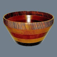 Vintage Treen Turned Wooden Bowl Commemorative WW11