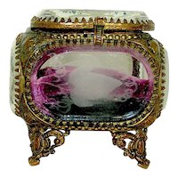 Antique Beveled Glass Etched Ring Casket Late 19th c.
