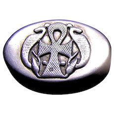 Sterling Silver Pill Box, Egyptian Hallmark, Ankh flanked by Cobras