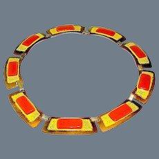 Necklace, Enamel Copper Toned sign Kay Denning